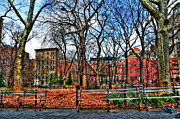 Townhomes Posters - Bench View in Washington Square Park Poster by Randy Aveille