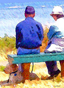 Enjoying Digital Art Posters - Bench View with Poodle Poster by Martha Carlozzi