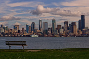 Seattle Waterfront Framed Prints - Bench with a View Framed Print by Dan Mihai