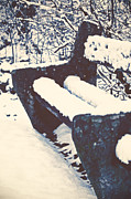 Stone Bench Prints - Bench With Snow Print by Joana Kruse