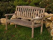 Wood Bench Prints - Bench with Stone Print by Richard Mansfield
