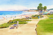 Beach Painting Posters - Benches at Powerhouse Beach Del Mar Poster by Mary Helmreich