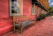 Benches Photos - Benches at the Train Depot Museum by Iris Greenwell