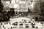 Paris In Sepia Framed Prints - Benches in Paris Framed Print by John Rizzuto