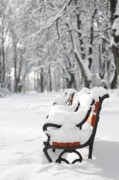 January Prints - Benches in the snow Print by Jaroslaw Grudzinski