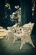White Art Framed Prints - Benches Framed Print by Joana Kruse