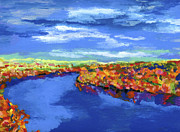 Fall Colors Paintings - Bend in the River by Stephen Anderson