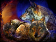Wolf Moon Posters - Beneath A Blue Moon Poster by Carol Cavalaris