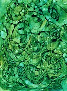 Emerald Green Abstract Paintings - Beneath the Emerald City by Christine Crawford