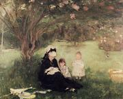 Pink Blossom Trees Posters - Beneath the Lilac at Maurecourt Poster by Berthe Morisot