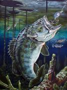 Largemouth Paintings - Beneath The Surface by Monica Turner