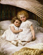 Cute Painting Posters - Beneath the Wing of an Angel Poster by William Strutt
