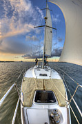 Charleston Sunset Posters - Beneteau Sailboat Sailing Sunset Poster by Dustin K Ryan