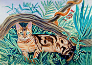 Vines Paintings - Bengal Cat by Lyn Cook