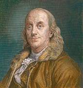 Declaration Of Independence Prints - Benjamin Franklin 1706-1790 In 1883 Print by Everett