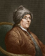 Benjamin Franklin Framed Prints - Benjamin Franklin (1706-90) Framed Print by Sheila Terry