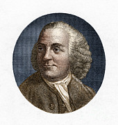 Political Illustration Framed Prints - Benjamin Franklin, American Polymath Framed Print by New York Public Library