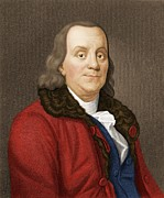 Declaration Of Independence Prints - Benjamin Franklin, American Scientist Print by Maria Platt-evans