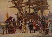 Slavery Ship Prints - Benjamin Franklin And His Family Are Print by Everett
