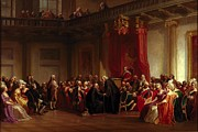 American Revolution Painting Metal Prints - Benjamin Franklin Appearing before the Privy Council  Metal Print by Christian Schussele