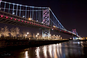 Philadelphia Skyline Framed Prints - Benjamin Franklin Bridge Framed Print by Shane Psaltis