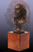 Portrait Sculptures - Benjamin Franklin Bronze Bust by John Gibbs