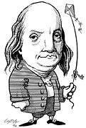 Caricature Framed Prints - Benjamin Franklin, Caricature Framed Print by Gary Brown