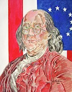 Franklin Drawings Framed Prints - Benjamin Franklin Framed Print by John Keaton