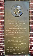 Downtown Franklin Prints - Benjamin Franklin Marker Print by Snapshot  Studio