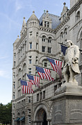 Flags Flying Prints - Benjamin Franklin Statue in front of The Old Post Office - Washington DC Print by Brendan Reals