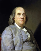 4th July Painting Framed Prints - Benjamin Franklin Framed Print by War Is Hell Store