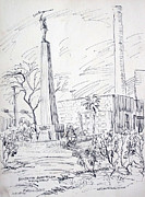 Attraction Drawings - Benjamin Rush Milani Monument by Bill Joseph  Markowski