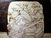 Asian Pyrography - Benkei on the Bridge by Guy Jackson
