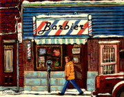 Winter Scenes Paintings - Bens Barbershop by Carole Spandau