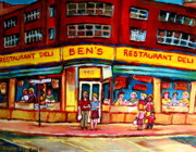Verdun Landmarks Paintings - Bens Delicatessen - Montreal Memories - Montreal Landmarks - Montreal City Scene - Paintings  by Carole Spandau