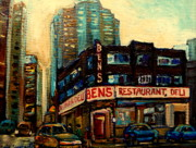 Montreal City Scapes Paintings - Bens Restaurant Deli by Carole Spandau