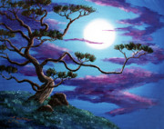Zenbreeze Paintings - Bent Pine Tree at Moonrise by Laura Iverson