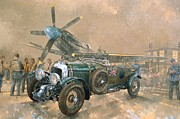 Airforce Prints - Bentley and Spitfire Print by Peter Miller