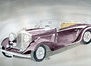 Vehicle Drawings Posters - Bentley Drophead 1934 Poster by Eva Ason