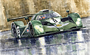 Watercolor  Originals - Bentley Prototype EXP Speed 8 Le Mans racer car 2001 by Yuriy  Shevchuk