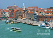 Colorful Buildings Posters - Benvenuto Venice Poster by Sandra Bronstein