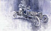 Sports Paintings - Benz 60HP Targa Florio Rennwagen 1907 by Yuriy  Shevchuk
