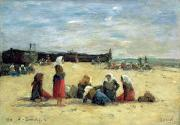 Signed Metal Prints - Berck - Fisherwomen on the Beach Metal Print by Eugene Louis Boudin