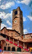 Architecture Digital Art Prints - Bergamo Bell Tower Print by Jeff Kolker