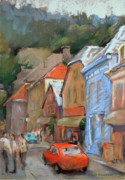 Car Pastels Prints - Bergen Sentrum Print by Joan  Jones