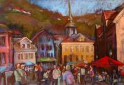 Norway Painting Framed Prints - Bergen Square Framed Print by Joan  Jones
