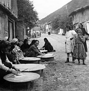 Making Posters - Berkovitsa Bulgaria - Women making bread in the streets - c 1911 Poster by International  Images