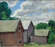 Abstract Composition Paintings - Berkshire Barns by Thor Wickstrom