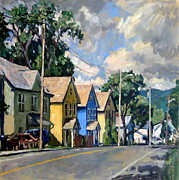 Abstract Realist Landscape Art - Berkshire Houses by Thor Wickstrom