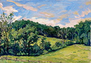 Abstract Composition Paintings - Berkshires Hillside by Thor Wickstrom